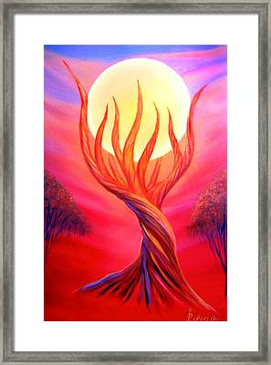 Framed Print featuring the painting Trapped Moon by Lilia D