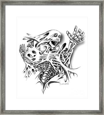 Trapped Skeleton By Spano Framed Print by Michael Spano