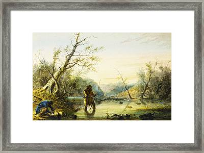 Trapping Beaver Framed Print by Alfred Jacob Miller