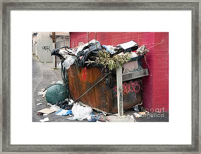Framed Print featuring the photograph Trash Dumpster In Slums by Gunter Nezhoda