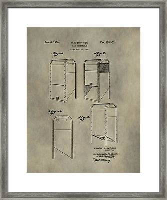 Trash Receptacle Patent Framed Print by Dan Sproul