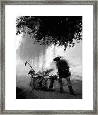 Trashman Framed Print by H James Hoff