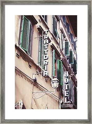 Trattoria Hotel Shop Sign Framed Print