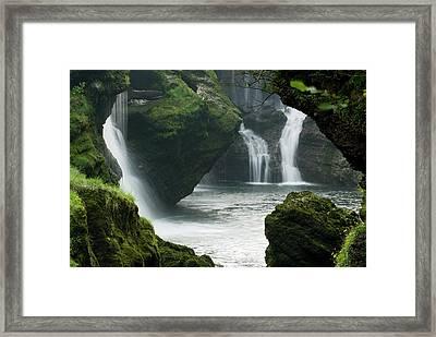Traunfall Waterfall In Viecht Framed Print
