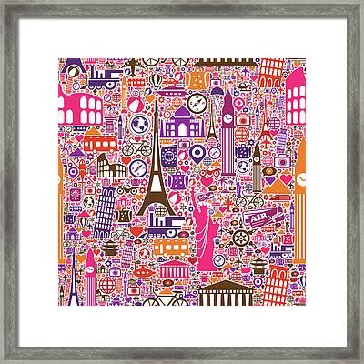 Travel Seamless Pattern Framed Print by Liana Monica Bordei