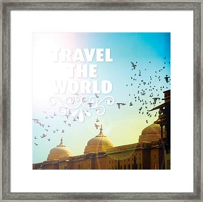 Travel Typography India Art Mix Framed Print by Little Smilemakers Studio