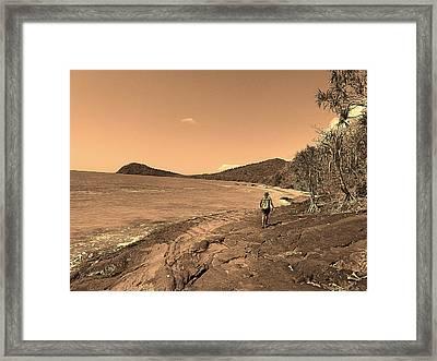 Traveler In Beach Framed Print