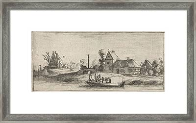 Travelers In A Boat On A River, Jan Van De Velde II Framed Print by Jan Van De Velde (ii) And Cornelis Willemsz Blaeu-laken