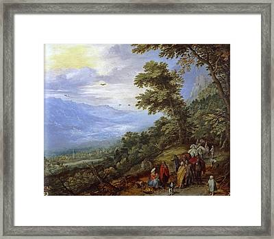 Travelers Meeting Band Of Gypsies On Mountain Pass Framed Print