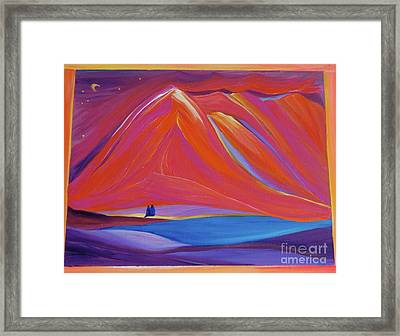Framed Print featuring the painting Travelers Pink Mountains by First Star Art