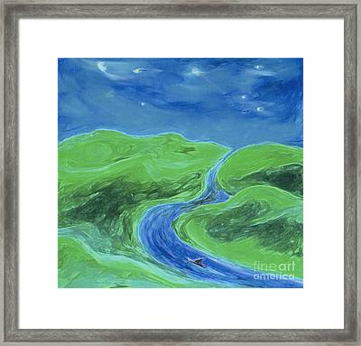 Framed Print featuring the painting Travelers Upstream By Jrr by First Star Art
