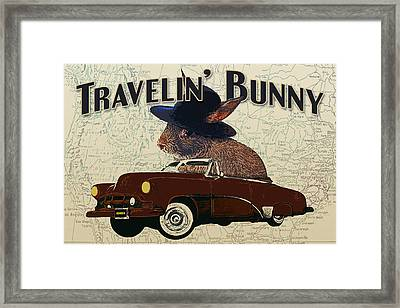 Travelin' Bunny Framed Print