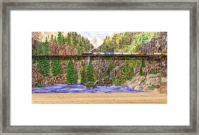 Framed Print featuring the painting Traveling The Rails Wall Mural by Alethea McKee