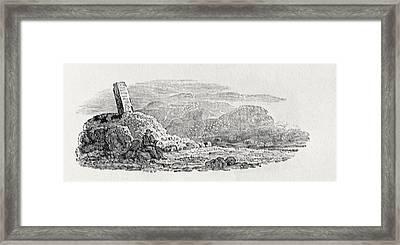 Traveller Reading Beneath A Milestone Wood Engraving Framed Print
