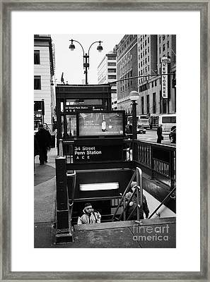 Travellers Exiting 34th Street Entrance To Penn Station Subway New York City Framed Print by Joe Fox