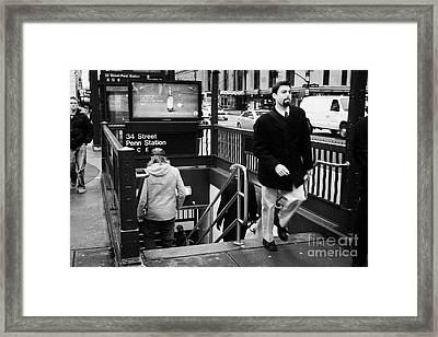 Travellers Exiting And Entering 34th Street Entrance To Penn Station Subway New York City Framed Print