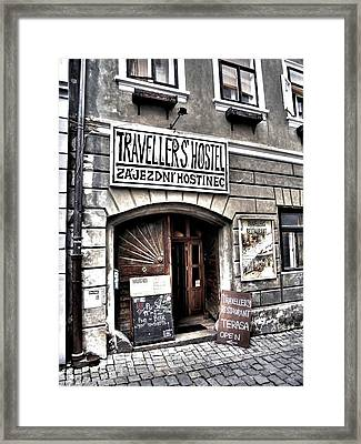 Framed Print featuring the photograph Travellers Hostel - Cesky Krumlov by Juergen Weiss