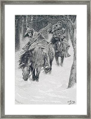 Travelling In Frontier Days, Illustration From The City Of Cleveland By Edmund Kirke, Pub Framed Print by Howard Pyle