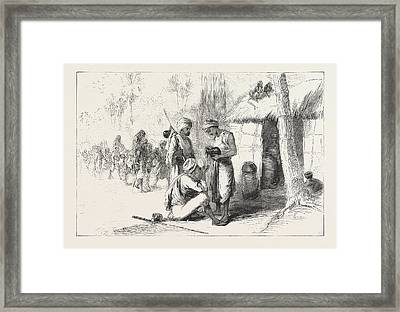 Travelling In India Wayside Shed For Supplying Travellers Framed Print by English School