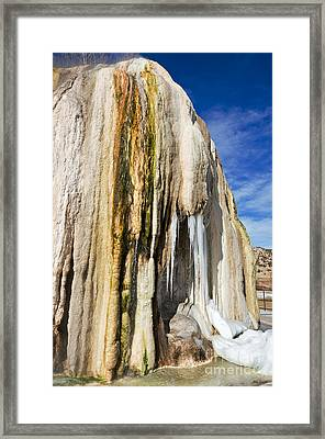 Travertine And Water And Ice Framed Print by Sue Smith