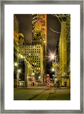 Travis And Lamar Street At Night Framed Print by David Morefield