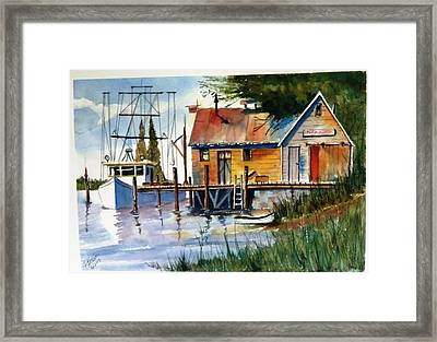 Framed Print featuring the painting Trawler At Rest Sold by Richard Benson
