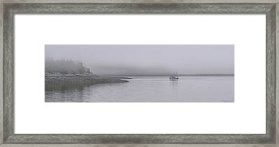 Framed Print featuring the photograph Trawler In Fog by Marty Saccone