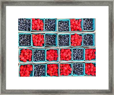 Trays Of Fresh Blueberies And Raspberries Framed Print by Jeff Lowe