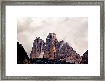 Framed Print featuring the photograph Tre Cime Di Lavaredo by Charles Lupica