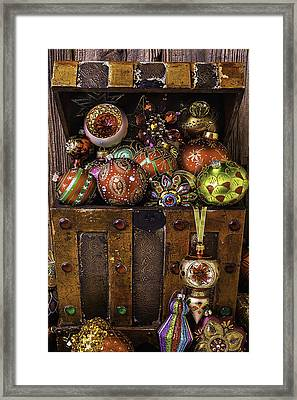 Treasure Box With Christmas Ornaments Framed Print by Garry Gay