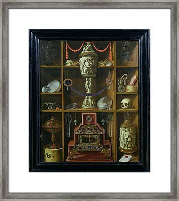 Treasure Chest, 1666 Oil On Canvas Framed Print by Johann Georg Hinz