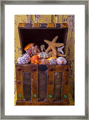Treasure Chest Full Of Sea Shells Framed Print by Garry Gay