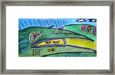 Treasure Hunt Art Puzzle Ocean Framed Print by Lois Picasso