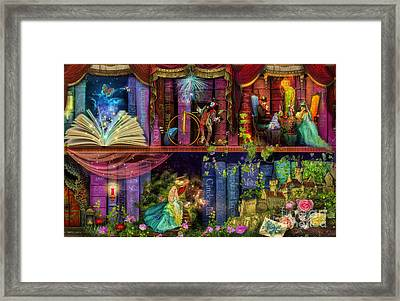 Fairytake Treasure Hunt Book Shelf Variant 4 Framed Print by Aimee Stewart