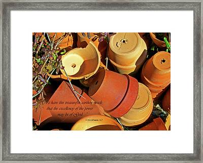 Framed Print featuring the photograph Treasure In Clay Pots by Larry Bishop