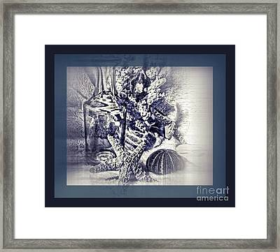 Treasures From The Sea In Blue Framed Print by Pamela Blizzard