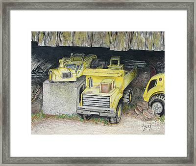 Treasures Under The Barn Framed Print by Lew Davis