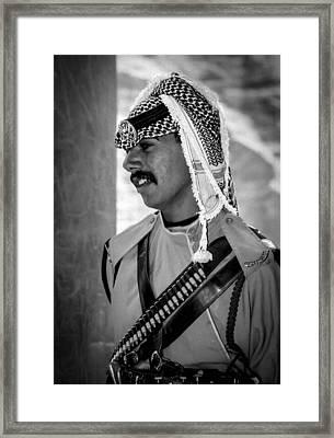 Treasury Guard At Petra Framed Print