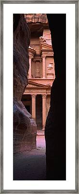 Treasury Through The Rocks, Petra, Wadi Framed Print by Panoramic Images