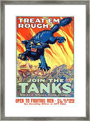 Treat 'em Rough Vintage Us Army Poster Framed Print