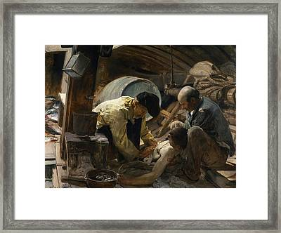 Treating The Wounded Framed Print by Celestial Images