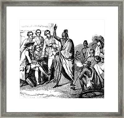Treaty With Iroquois Indians Five Framed Print by British Library
