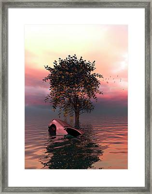 Tree And Car In Water Framed Print by Victor Habbick Visions