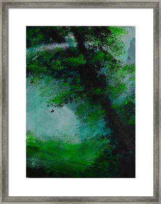 Tree And Mist Framed Print