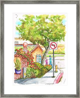 Tree And Not Turn To The Left Sign In Laguna Beach - California Framed Print