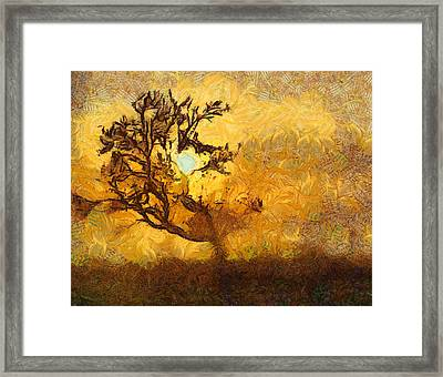 Tree At Sunset - Digital Painting In Van Gogh Style With Warm Orange And Brown Colors Framed Print by Matthias Hauser