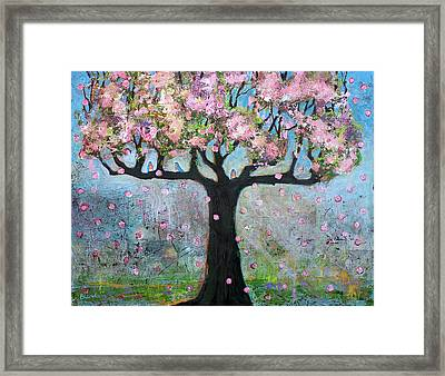 Tree Blossoms And Bluebirds Framed Print by Blenda Studio