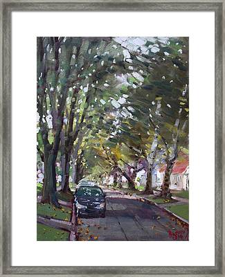 Tree Covered 81st Street Lasalle Framed Print by Ylli Haruni