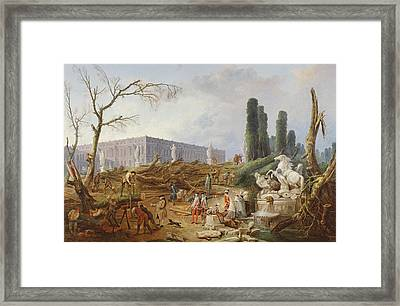 Tree Felling In The Garden Of Versailles Around The Baths Of Apollo, 1775-77 Oil On Canvas Framed Print by Hubert Robert