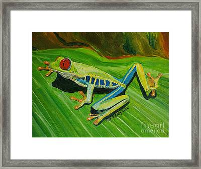 Tree Frog Traction Framed Print by Julie Brugh Riffey